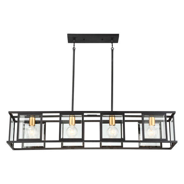 Payne 4 Light Island Pendant With Clear Beveled Glass