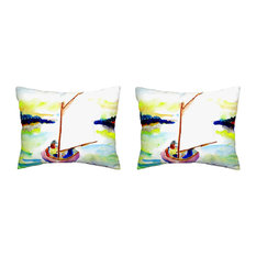 Pair of Betsy Drake Pink Sailboat No Cord Pillows 16 Inch X 20 Inch