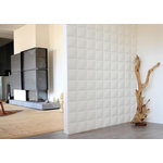 "WallArt - 3D Wall Panels, Cubes, Set of 12 - Textured Wall Coverings that will transform your interior walls with depth and create an amazing looking feature wall. The wall panels are made of natural plant fiber and are flexible, lightweight, paintable and easy to install. All our wall panels are sold in the natural off white color and therefore are paintable. Size is 19.68""x19.68"", 12 panels / box. Give your focal wall the Wow factor with our 3D wall panels."