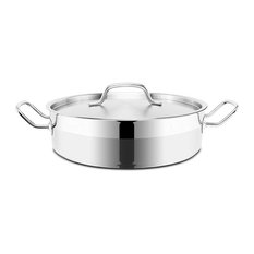 Optima Stainless Steel Brazier Pot With Lid, 24 cm