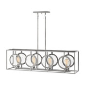 Fulham 4-Light Linear Chandelier Polished Antique Nickel Clear Bevel