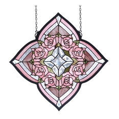 "20""Wx20""H Ring of Roses Stained Glass Window"