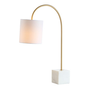 "Fisher 25"" Marble and Brass Table Lamp"