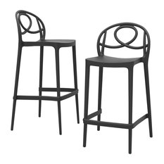 Etoile Outdoor Bar Stools, Anthracite, Low, Set of 2