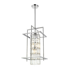 Chrome Frame Cage Chandelier, Clear Crystal Dropping