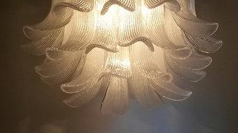 Modern Vintage Design Chandelier, Murano, glass leaf, Mid Century