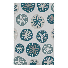 Addison Beaches Nautical Sand Dollar Navy Area Rug, Pearl, 5'x7'6""
