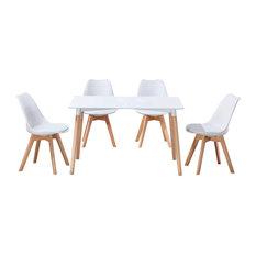 Mirage Mid Century Modern 5-Piece Dining Set White