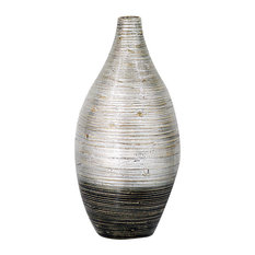 """HomeRoots Decor, 20"""" Spun Bamboo Vase, Distressed Silver and Black"""