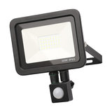 Langton Outdoor LED Slimline Flood Light With PIR Sensor, Black, 30 W