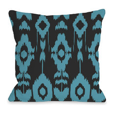 """""""Forever Ikat"""" Indoor Throw Pillow by OneBellaCasa, Gray/Peacock Blue, 16""""x16"""""""