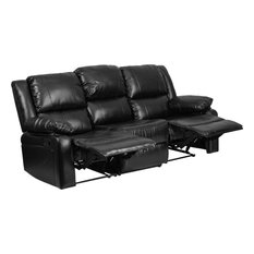 Flash Furniture   Harmony Series Leather Sofa With 2 Recliners, Black    Sofas