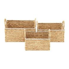 "Set of 3 Tan Sea Grass Contemporary Storage Basket, 12"", 14"", 16"""