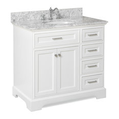 "Aria Bath Vanity, Base: White, 36"", Top: Carrara Marble"