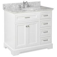 "Aria Bathroom Vanity, Base: White, 36"", Top: Carrara Marble"