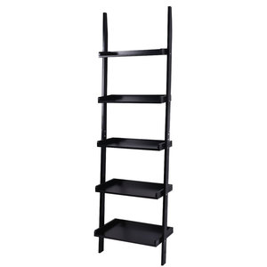 Modern 5-Tier Leaning Wall Storage Display Shelf Ladder, Black