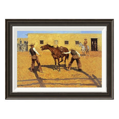 """""""His First Lesson"""" Framed Canvas Giclee by Frederic Remington, 23x17"""""""