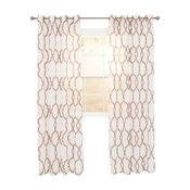 """Elisa Emboidered Curtain Panel, Chocolate, 95"""""""