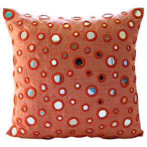 Mirror Orange Art Silk Throw Cushion Covers 40x40, Mirror Fun