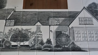 Customers House painted in Black and White on Tiles