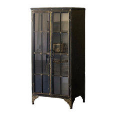 IRON AND GLASS TWO DOOR APOTHECARY CABINET
