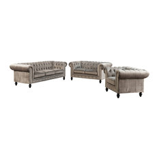 Abbyson Living - Grand Chesterfield 3-Piece Set, Gray - Living Room Furniture Sets