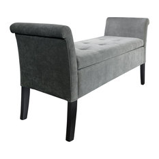 Balmoral Window Bench With Storage, Grey Chenille