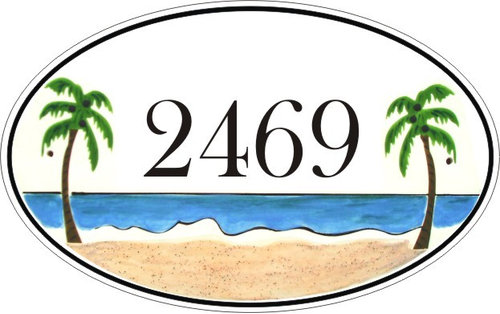 Oval Tropical Beach House Number Plaque Numbers