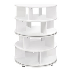Furinno Wood Revolving 4-Tier Shoe Rack Carousel Storage, White