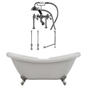 """68"""" Double Slipper Clawfoot Tub, Deck Mount Plumbing Package, Chrome"""