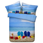 Duvet Life - 3D Blue and Brown Beach Days, 4-Piece Duvet Cover Set, Full - Our 3D Blue and Brown Beach Days Bedding Set is an equivalent of vacationing on a beach. It is a wonderful combination of style and comfort and can prove to be a great addition to your bedroom. Showcasing some brightly colored flowers on a beach this bedding set adds a touch of freshness to your room's decor. Reflecting the light blue color of the sky the beach looks amazing. This bedding set is machine washable and offers fuss-free smoothness which just makes you want it even more.