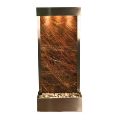 Harmony River Flush Mount Water Fountain, Brown Marble, Stainless Steel