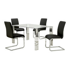 WHI   Modern Dining Table 5 Piece Set, Black   Dining Sets