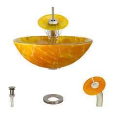 Vessel Sink, Brushed Nickel, Waterfall Faucet