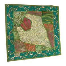 Mogul Interior - Green Floor Pillow Shams Vintage Patchwork Embroidered Zari Sequin Cushion Cover - Decorative Pillows