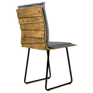 Black Wooden Shingle Chair, Black Skids