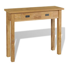 VidaXL Solid Teak Wood Console Table 31.5-inch Entrance Side Table Hall Sideboard