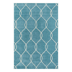 Bliss Hand-Tufted and Hard-Carved Polyster Rug, Teal, 8'x10'