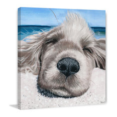 """""""Relaxing Dog"""" Painting Print on Wrapped Canvas, 32""""x32"""""""