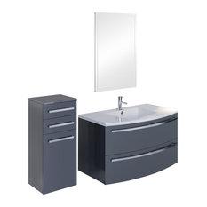 Ondine Lacquered Anthracite Bathroom Vanity Unit, 100 cm