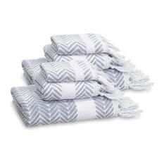 Linum Home Textiles - Linum Home Textiles Assos 6-Piece Towel Set, Dusty Blue - Bath Towels