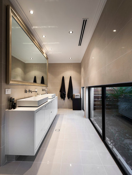 Superieur Mid Sized Trendy Porcelain Tile Bathroom Photo In Perth With A Vessel Sink  And Engineered