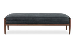 Fritz Fabric and Leather Bench, Black