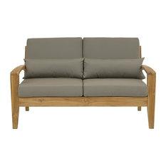 Jabron Outdoor Teak Sofa, Natural and Taupe