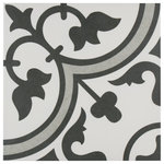 """SomerTile - SomerTile Arte Encaustic 9.75""""x9.75"""" Porcelain Floor and Wall Tile, Grey - As the original encaustic-look porcelain tile that started the patterned tile trend, our Arte Grey 9-3/4 in. x 9-3/4 in. Porcelain Floor and Wall Tile draws inspiration from artisan cement tiles. Crafted in Spain, this porcelain tile features a large floral old-world pattern in rich charcoal black that frames dueling light grey arcs in the center, offering subtle contrast and dimension to the decoration. Set on the highest-quality solid snow white base glaze, the contrasting design features a weathered, speckled look, replicating the beauty of its cement muse. The floral, geometric pattern blends into virtually any design theme, making this an exceptional product for modern installations and historic renovations. Its impervious and frost-resistant features make it an ideal choice for both indoor and outdoor residential installations including kitchens, bathrooms, showers, entryways and patios. Tile is the better choice for your space. This tile is made from natural ingredients, making it a healthy choice as it is free from allergens, VOCs, formaldehyde and PVC."""