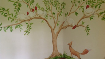 Aesops Fable Hand Painted Wallpaper for Private Client