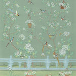 Chinoiserie Wall Mural Adriana, Green, Small - Chinoiserie with delicate flowers and beautiful birds in a ornately fenced garden. No. of Panels 2 - PW (Panel Width) 36 - DH (Design Height) 88