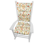 Barnett Home Decor - Southwest Cheyenne Rocking Chair Cushions, Latex Foam Fill, Extra-Large - Southwest Cheyenne Rocking Chair Cushions feature fanciful feathers in shades of yellow, sage green, aqua, and persimmon on an ivory background.