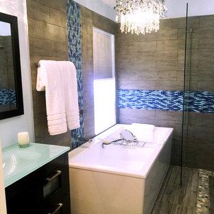Bathroom - modern blue tile and glass sheet bathroom idea in Miami