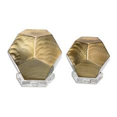 Uttermost Pentagon Coffee Bronze Cubes, Set of 2